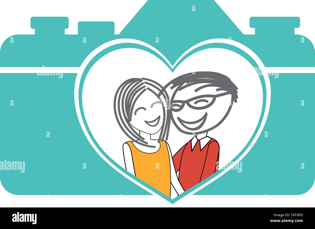 Portrait of a couple photographed - Stock Vector