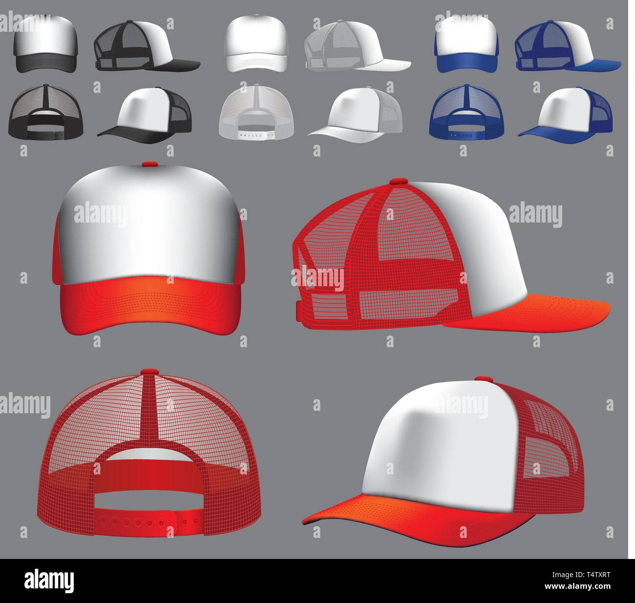 064fcb33 Trucker cap vector template customisable for proofing baseball hat cap  front back and side views -