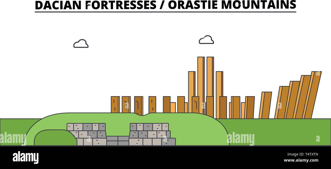 Romania , Dacian Fortresses, Orastie Mountains ,  travel skyline vector illustration.  Stock Vector