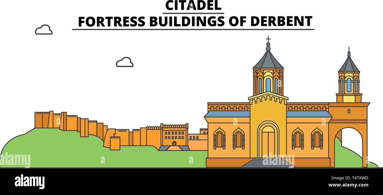 Russia, Dagestan, Derbent, Citadel ,  travel skyline vector illustration.  - Stock Vector