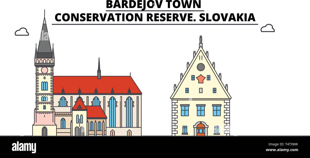 Slovakia , Bardejov Town, Conservation Reserve ,  travel skyline vector illustration.  - Stock Vector