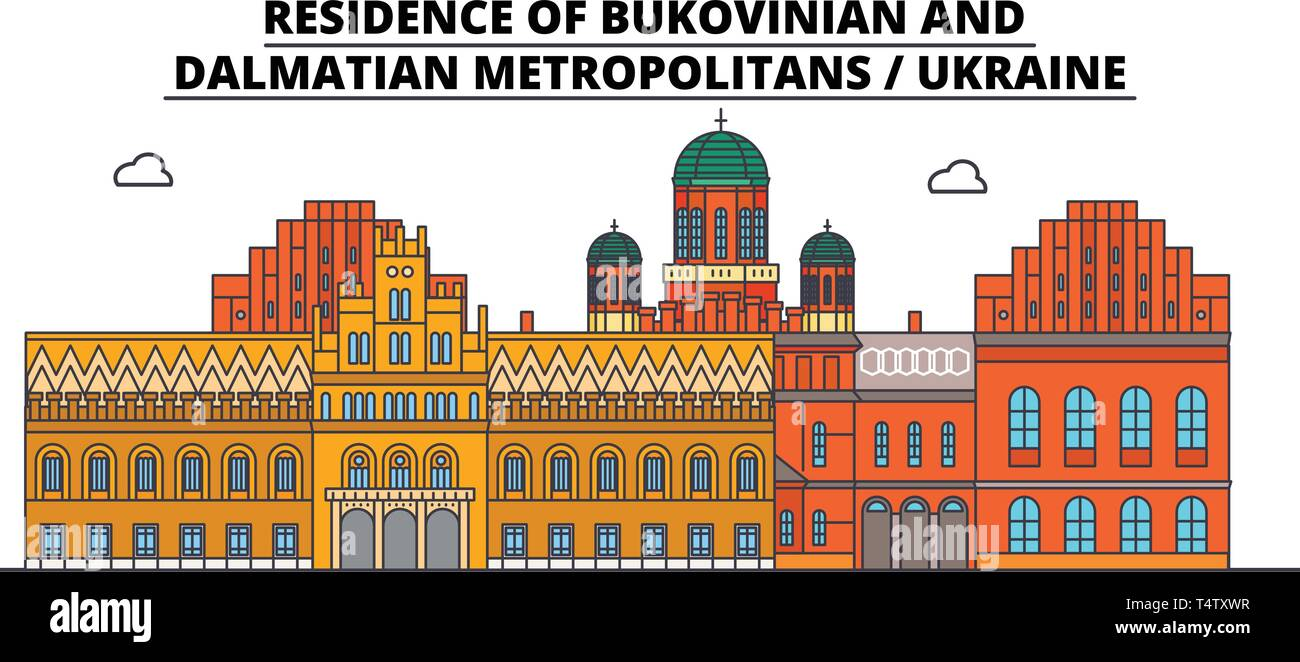 Ukraine , Bukovinian And Dalmatian Metropolitans ,  travel skyline vector illustration.  - Stock Vector