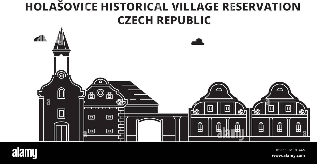 Czech Republic , Holasovice ,  travel skyline vector illustration.  - Stock Image