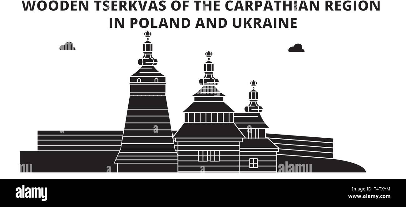 Poland , Wooden Churches In The Carpathian Mountain Area ,  travel skyline vector illustration.  Stock Vector