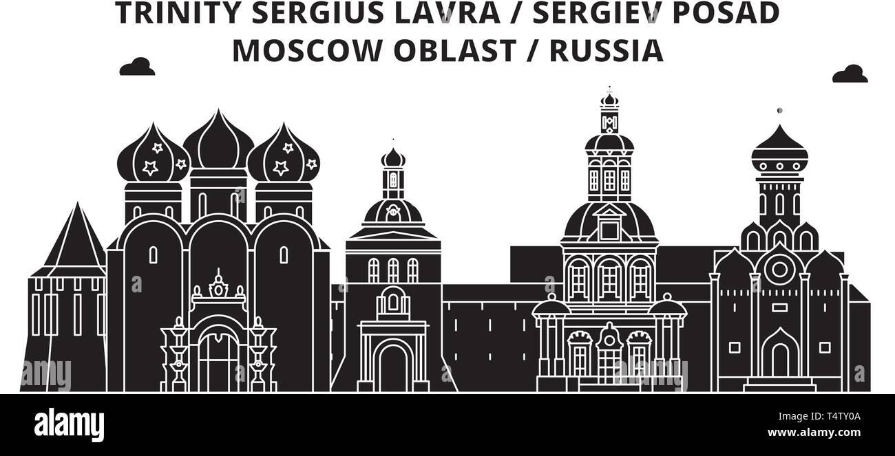 Russia , Sergiev Posad, Lavra ,  travel skyline vector illustration.  - Stock Vector