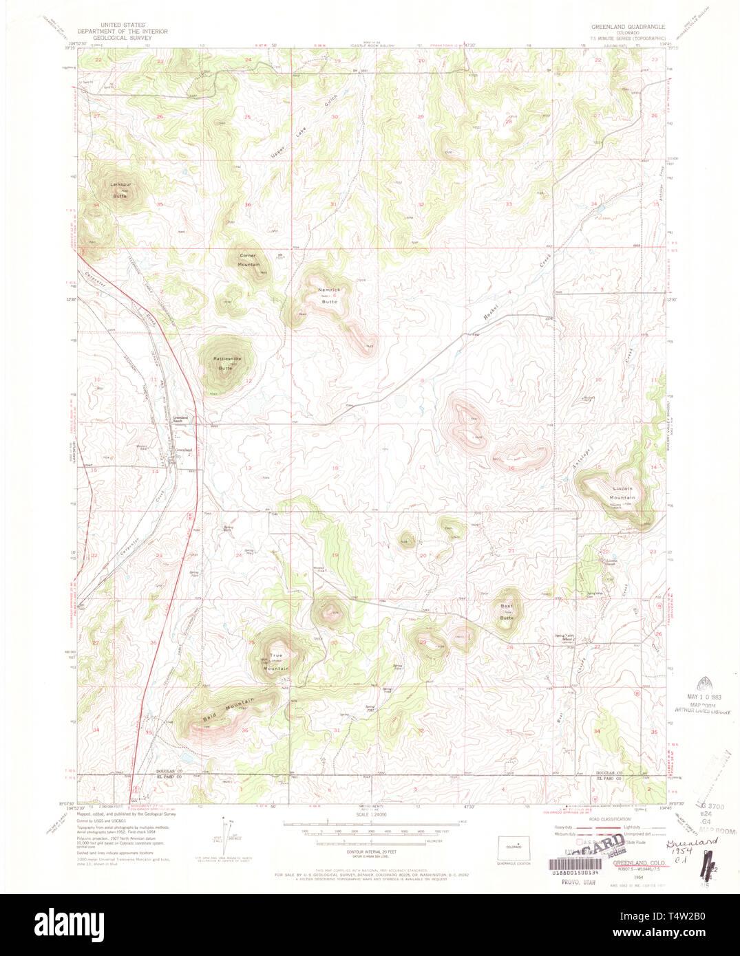 USGS TOPO Map Colorado CO Greenland 450927 1954 24000 Restoration ...