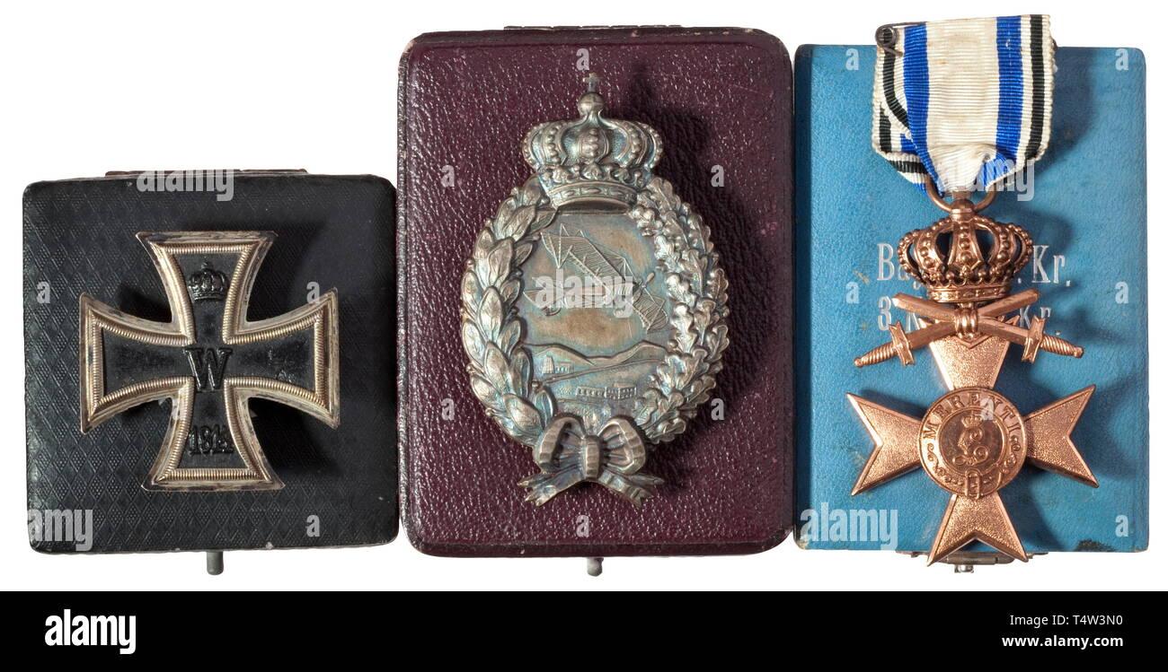 Bavarian Merit Cross 3rd Class with Crown and Swords Ribbon bar  Tab