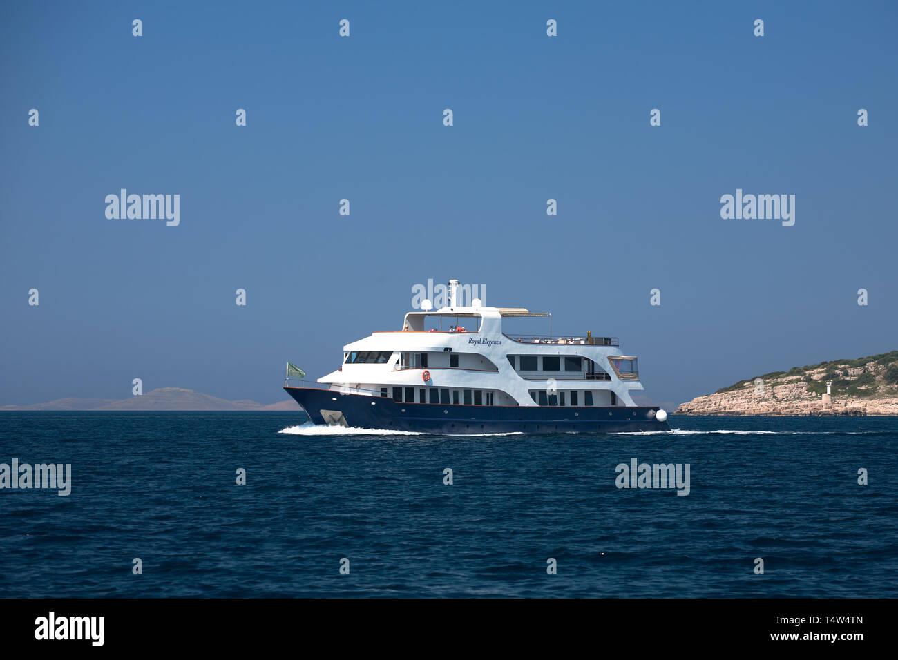 "Small cruise ship, ""Royal Eleganza"" in the Murtersko more (Murter Sea), Croatia Stock Photo"