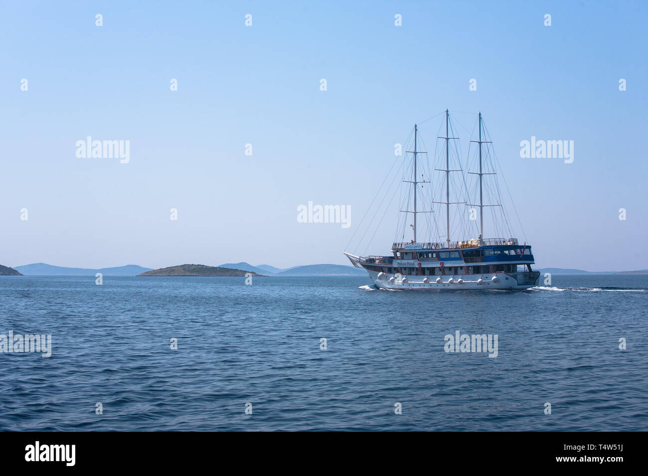 "The small cruise ship ""Princeza Diana"" in Murtersko more, Šibenik-Knin, Croatia Stock Photo"