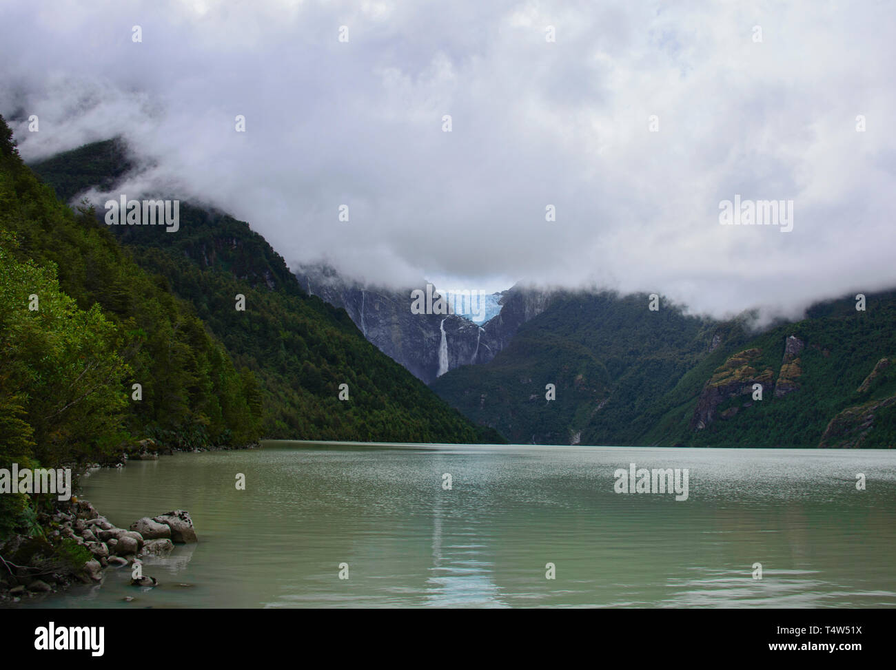 Ventisquero Colgante hanging glacier in Queulat National Park, Patagonia, Aysen, Chile - Stock Image