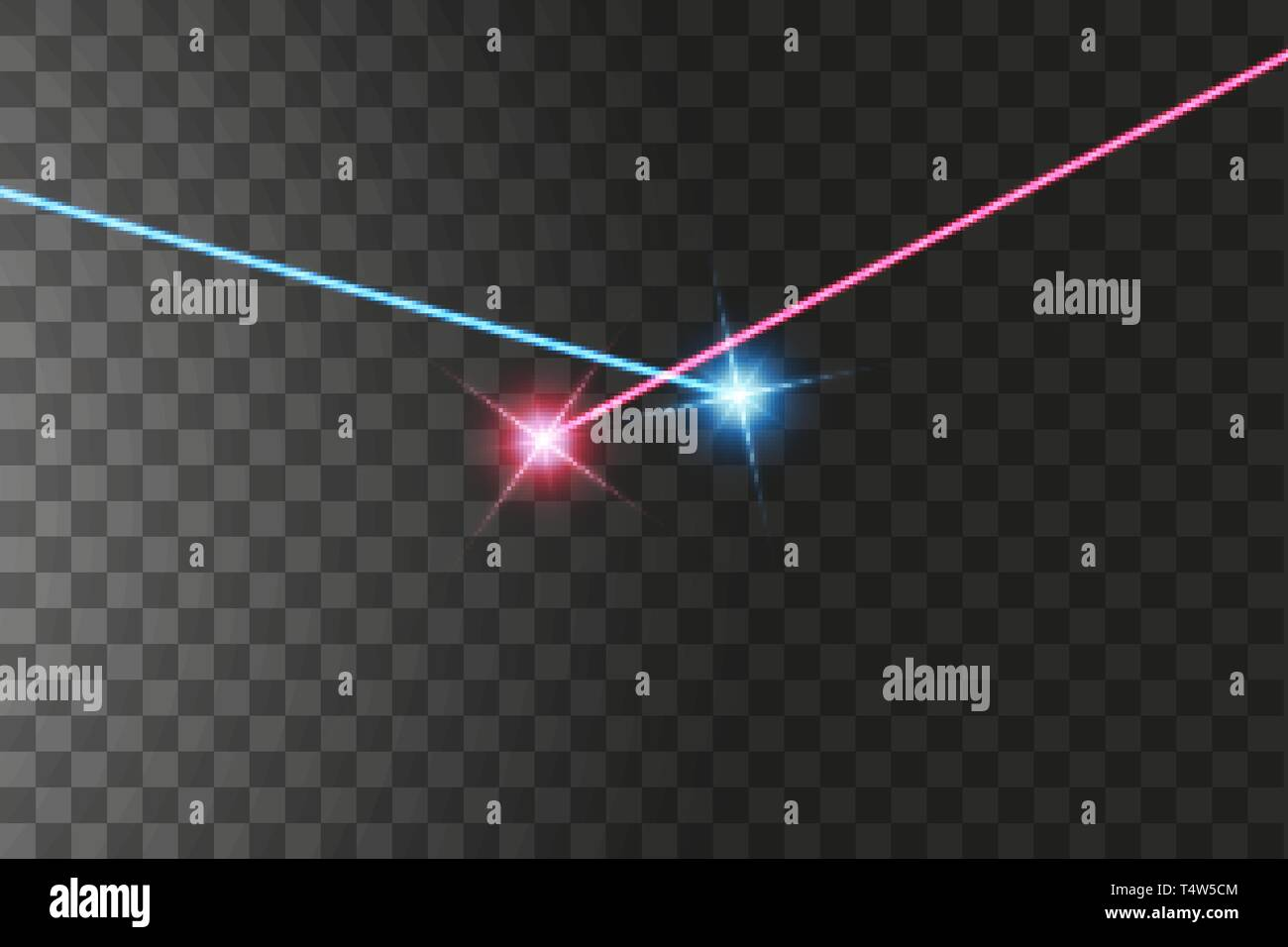 The light of the collision of two forces with red and blue light. An outburst of two stars Stock Vector
