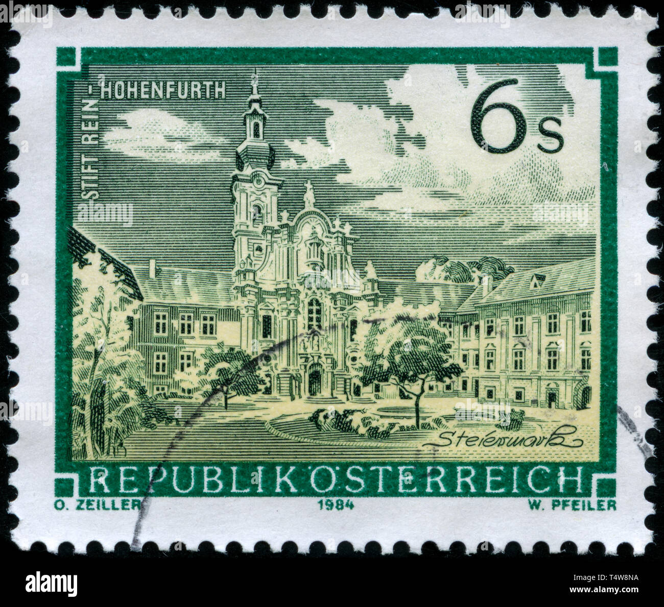 Postage stamp from Austria in the Monasteries and Abbeys series issued in 1984 - Stock Image