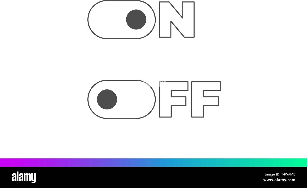 On Off mode switch button sliders. Toggle modern flat UX UI design vector element set for website or mobile app - Stock Vector