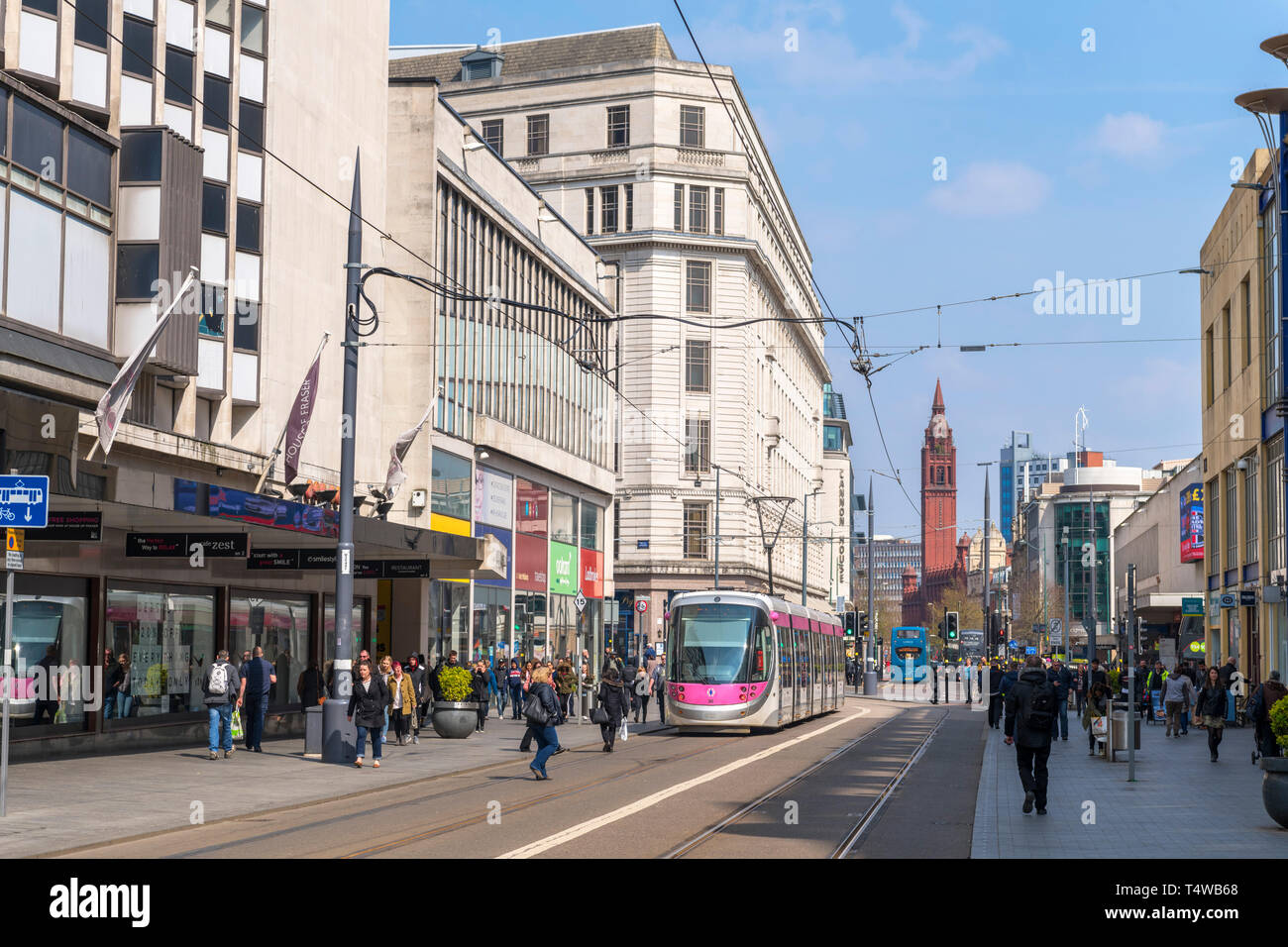 West Midlands Metro tram on Corporation Street in Birmingham, West Midlands, England, UK - Stock Image