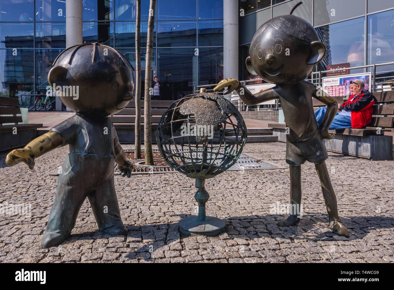 Bolek and Lolek Polish cartoon characters monument in Bielsko-Biala city in Poland - Stock Image