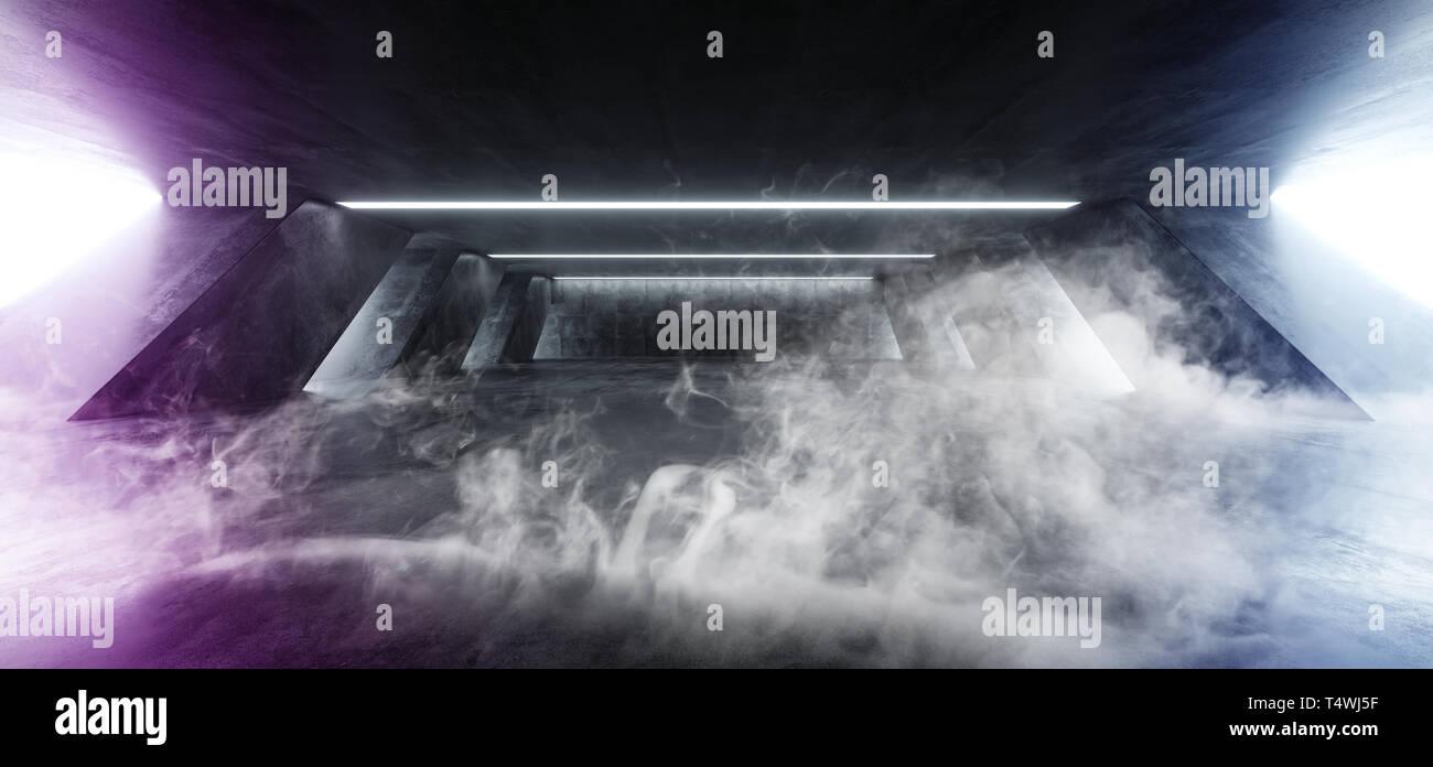 Neon Purple Blue Smoke Steam Fog Sci Fi Modern Concrete