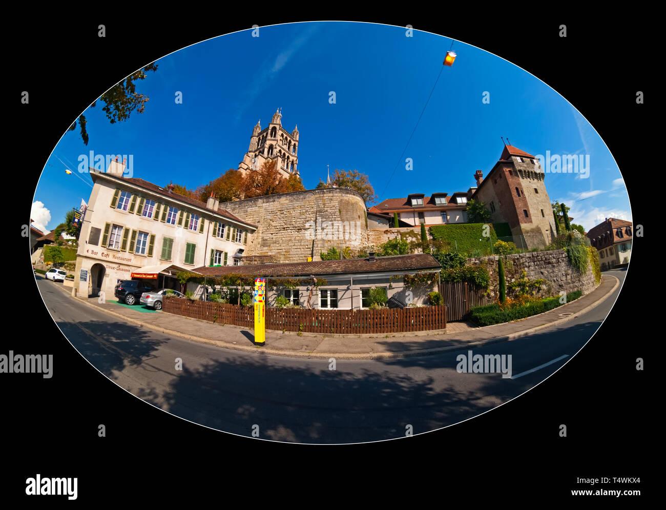 Lausanne City in Vaud Canton (Switzerland). The city is located near Lake Geneva - Stock Image