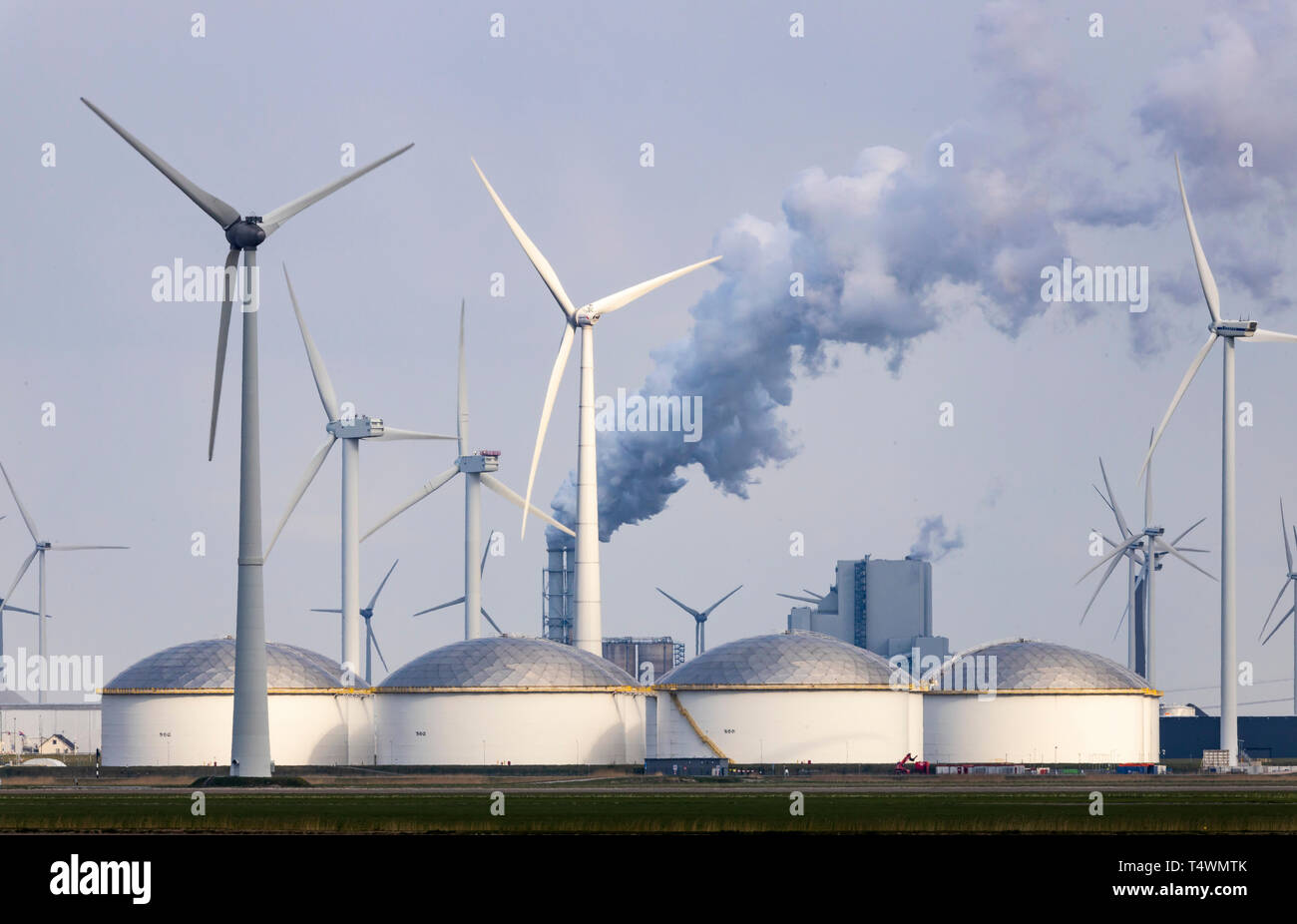 Eemshaven Energy Park, various power plants and the Westereems and Growind wind farms, a total of over 80 wind turbines, RWE Eemshaven coal-fired powe - Stock Image