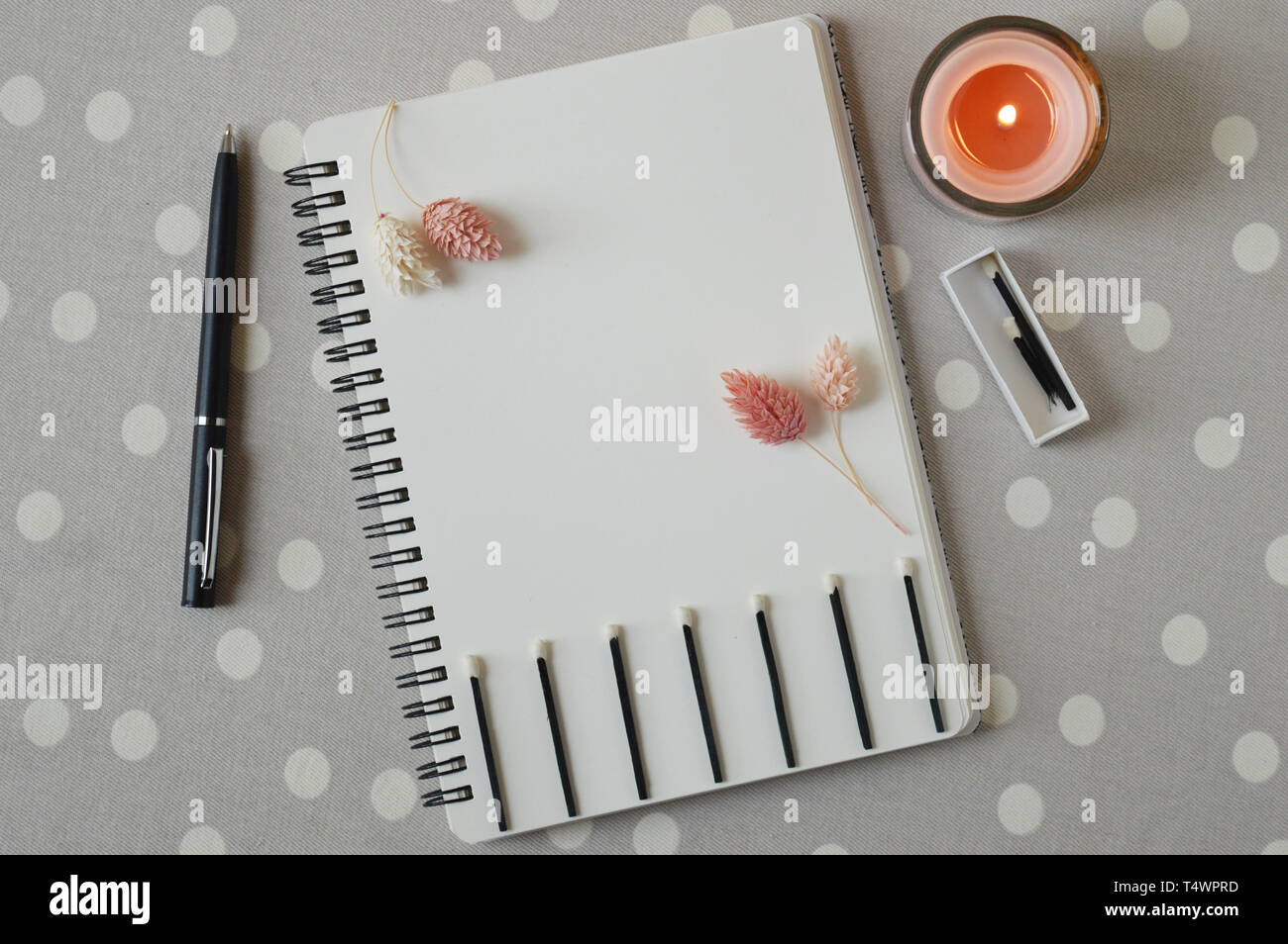 Lifegoals concept on notebook with match box and black wooden matches. Trendy concept. Burning coral candle. Dried flowers of pink tender color. Grey  - Stock Image