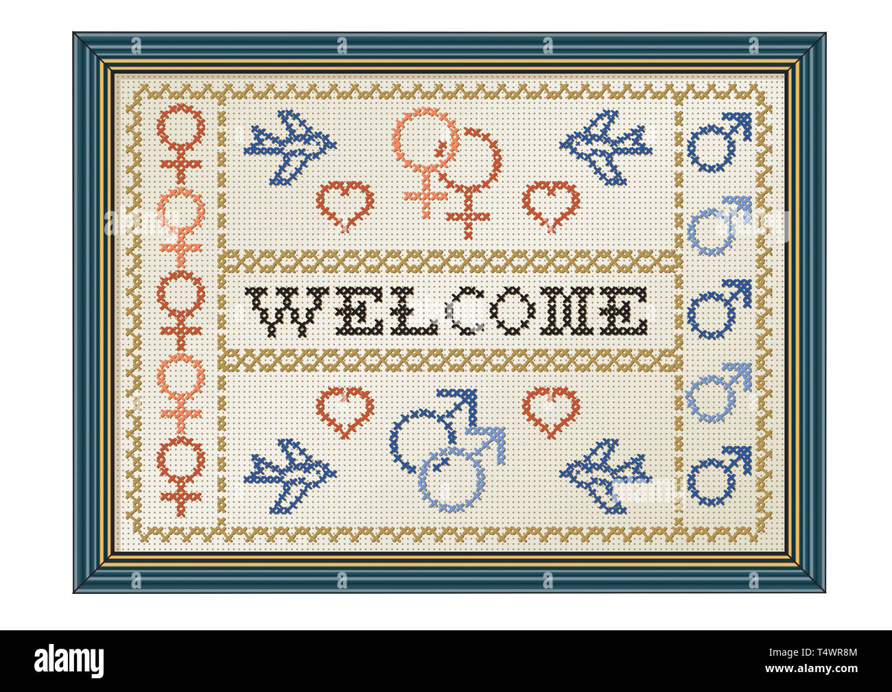 Welcome sign with female and male symbols - Stock Image