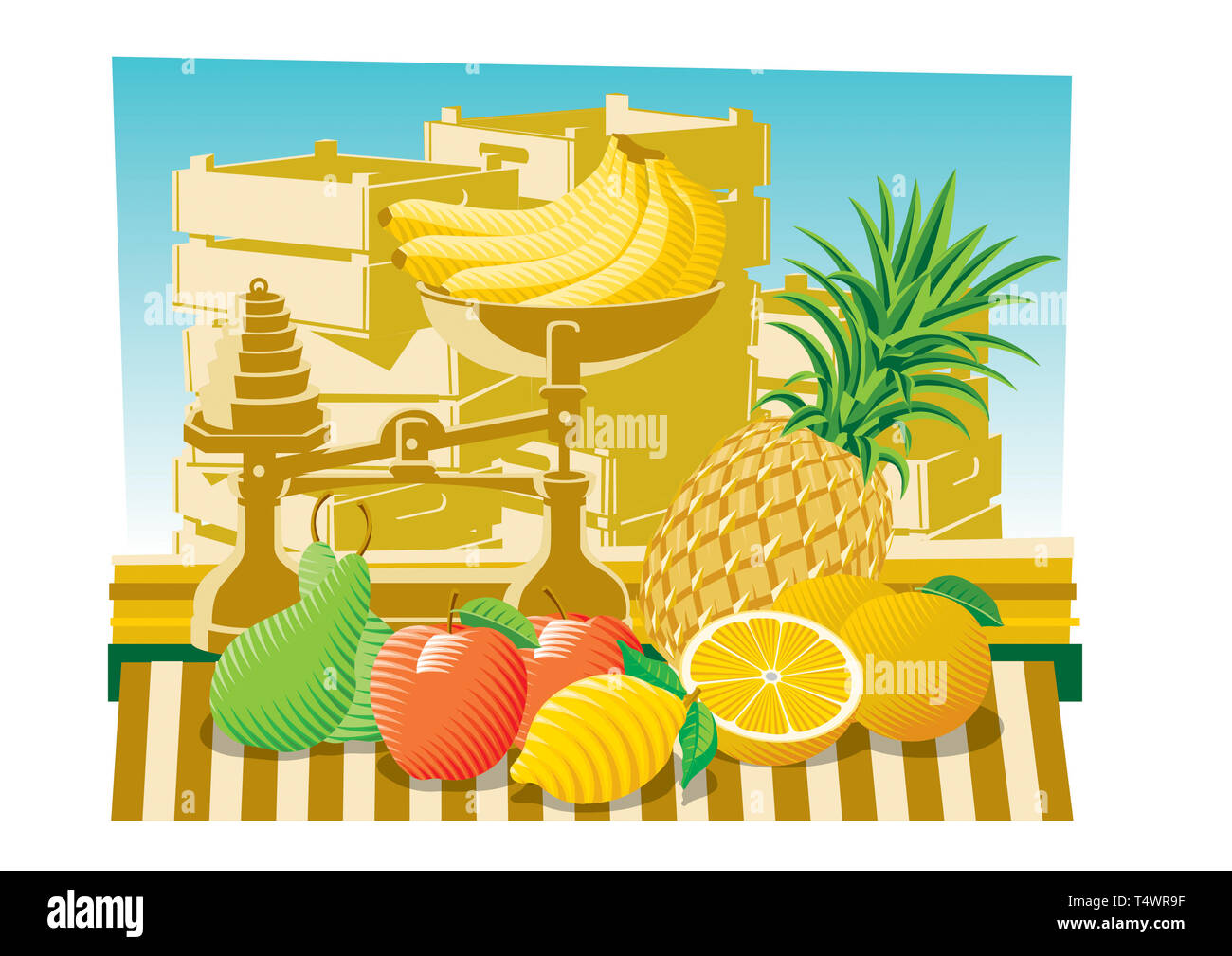 Tropical fruits and scale on market stall - Stock Image