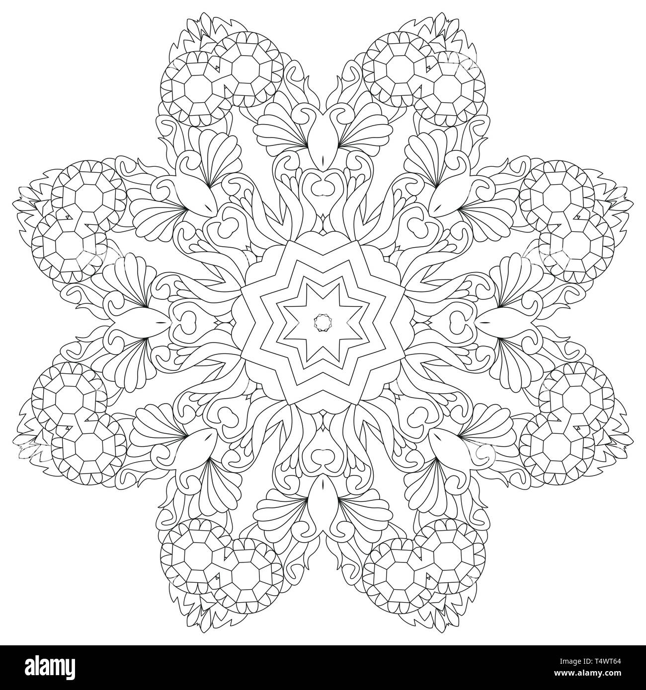 Vector Adult Coloring Book Textures. Hand-painted art design ...