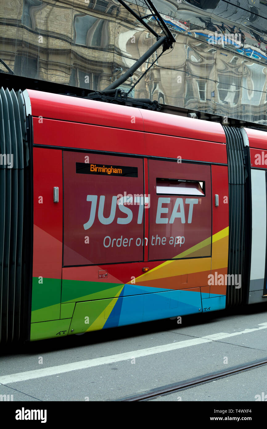 Jus Eat Advertisement On A West Midlands Metro Tram