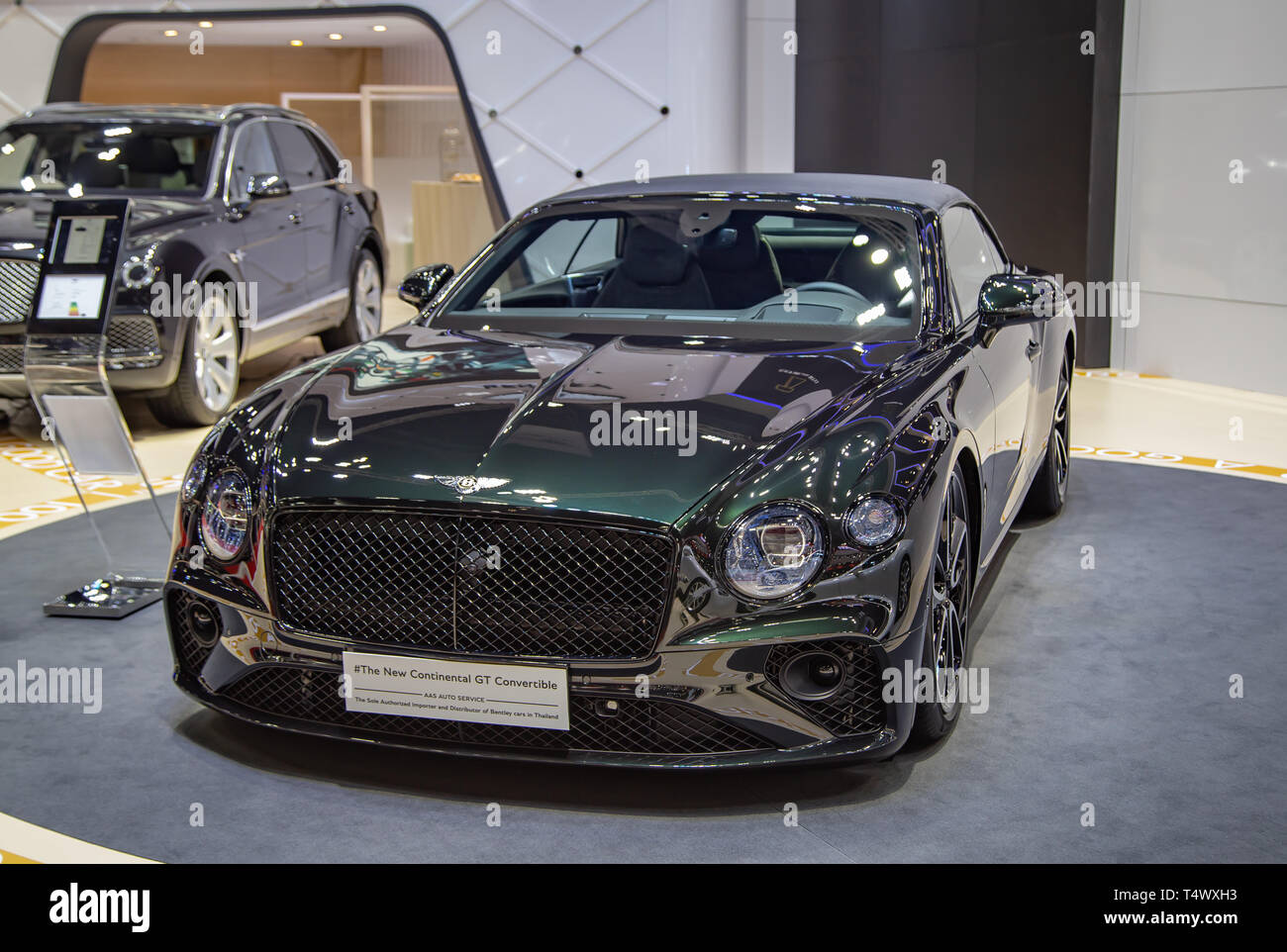 Nonthaburi, Thailand - April 3, 2019: Bentley Continental GT Convertible luxury car presented in Motor Show 2019 - Stock Image