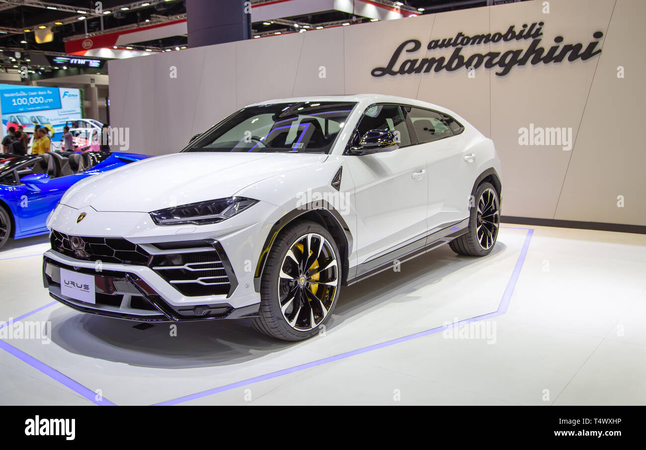 Nonthaburi, Thailand - April 3, 2019: Lamborghini Urus SUV presented in Motor Show 2019 - Stock Image