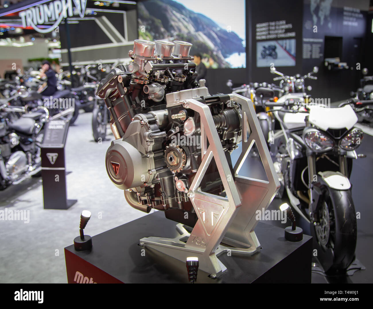 Nonthaburi, Thailand - April 3, 2019: Triumph Moto2 765 engine displayed in Motor Show 2019 - Stock Image
