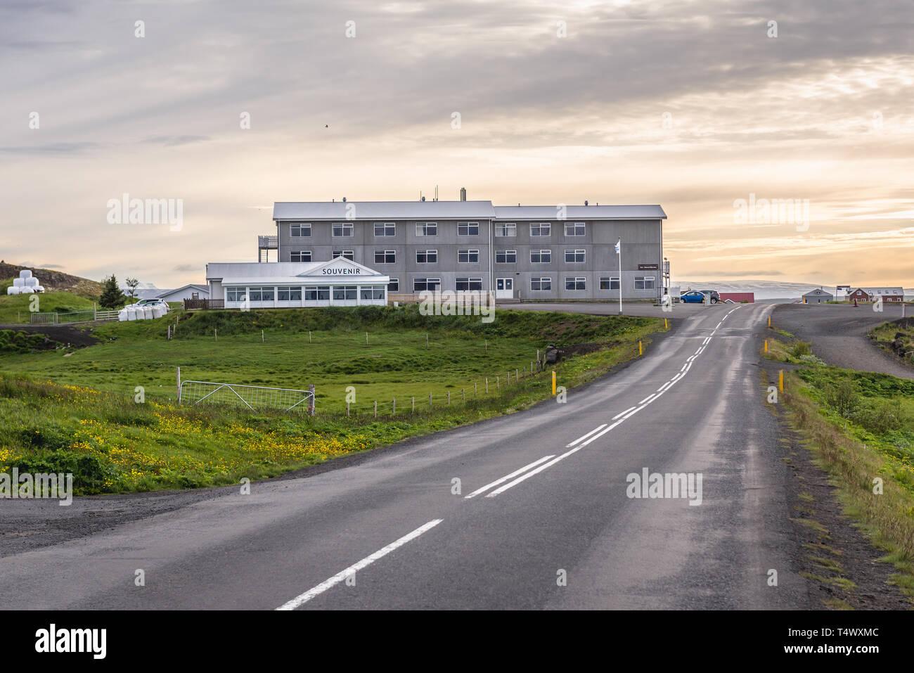 Road 848 and Hotel Myvatn in Skutustadir villae in Iceland Stock Photo