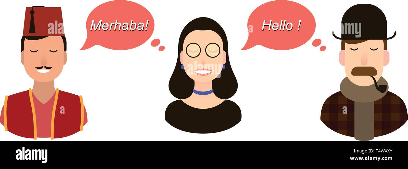 Modern design for foreign language course, classes, school International communication - translation concept illustration. tourists or businessmen or - Stock Image
