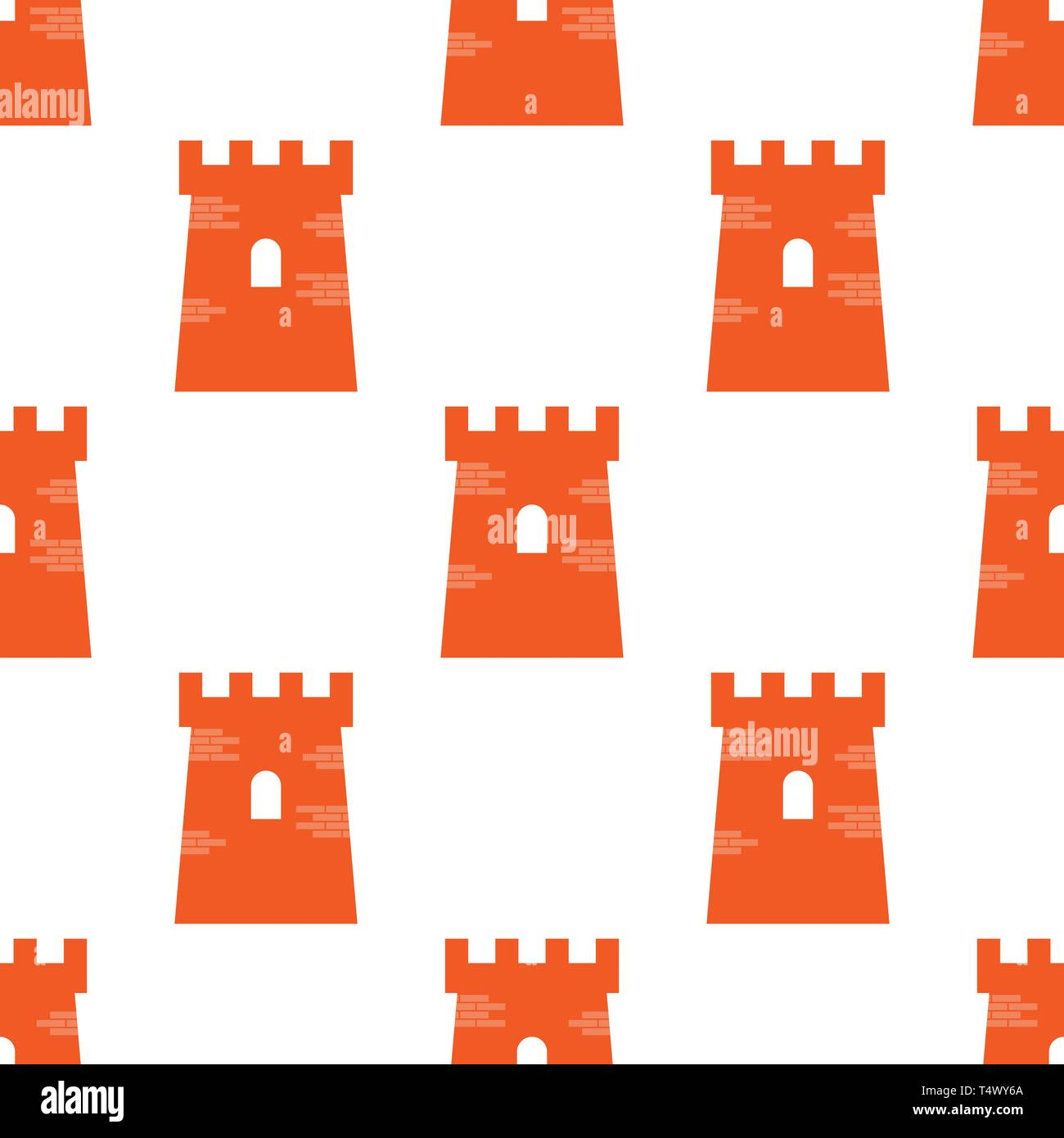 Authentic victorian Castle tower symbol in seamless repeat for any use. Flat and solid color style vector illustration. - Stock Vector