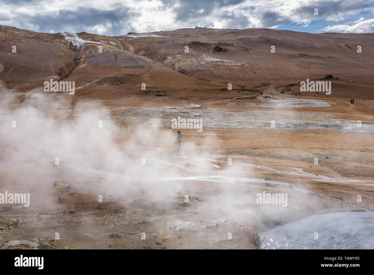 Namafjall mountain seen from Hverir boiling mud area also called Hverarond near Reykjahlid town in the north of Iceland Stock Photo