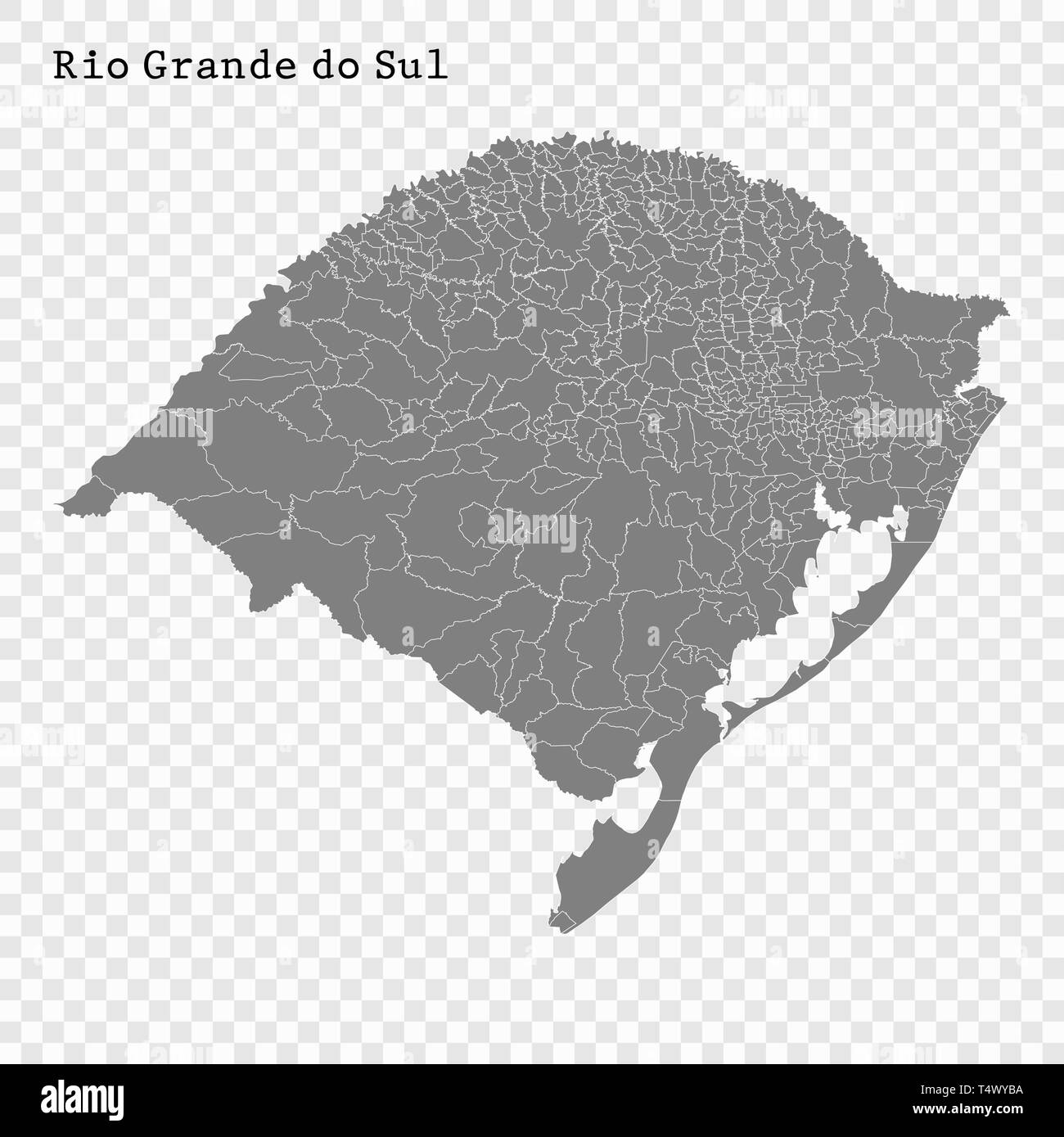 High Quality map of Rio Grande do Sul is a state of Brazil, with borders of the municipalities Stock Vector