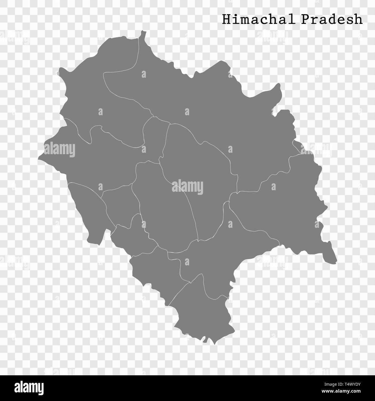 High Quality map of Himachal Pradesh is a state of India, with borders of the districts - Stock Vector