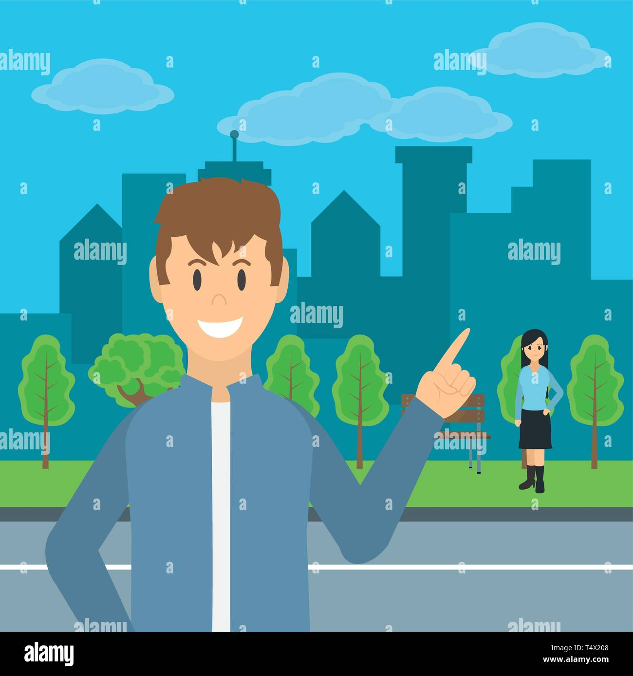 Young people at city park scenery cartoons vector illustration graphic design Stock Vector