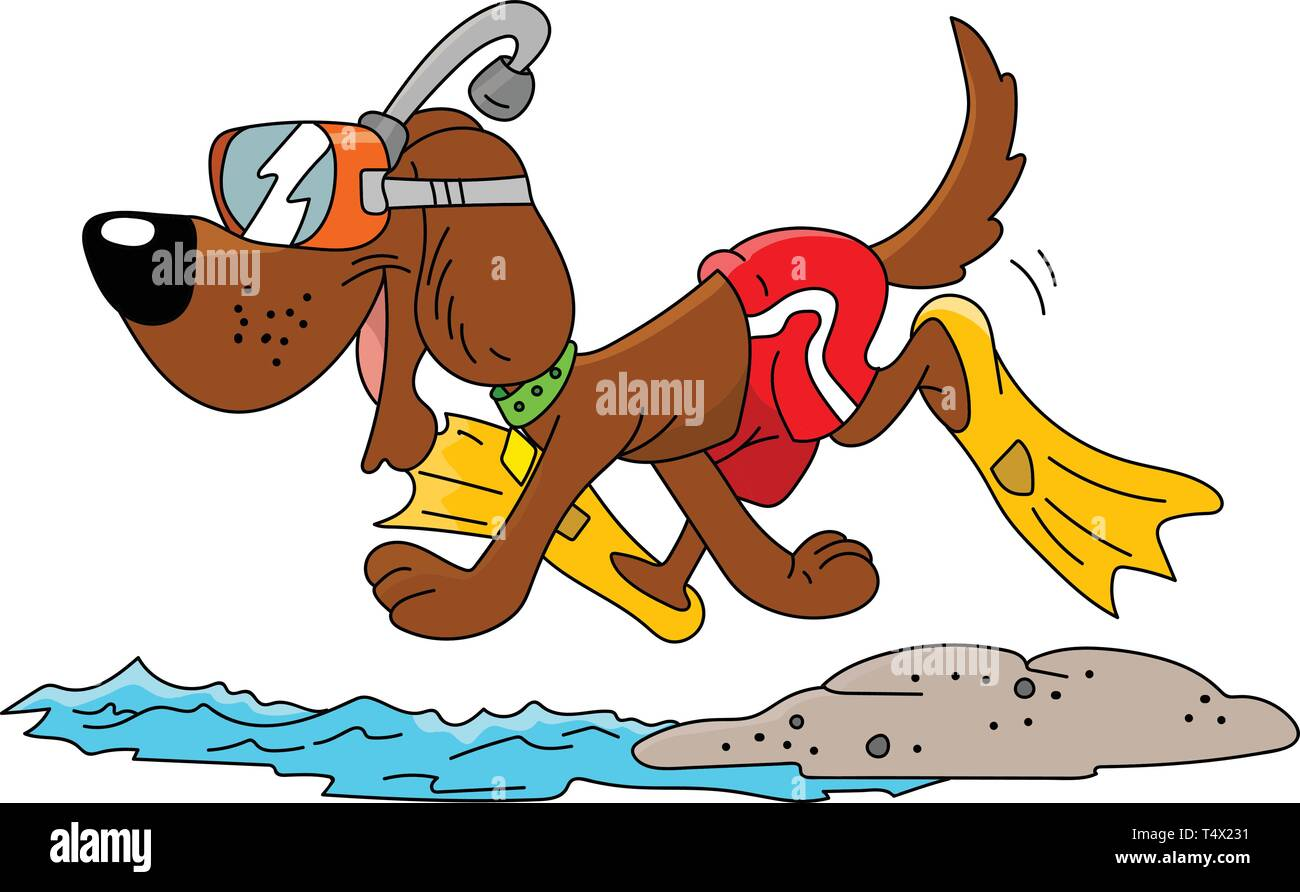 Cartoon dog wearing a snorkel and swimsuit ready for vacation vector illustration - Stock Vector