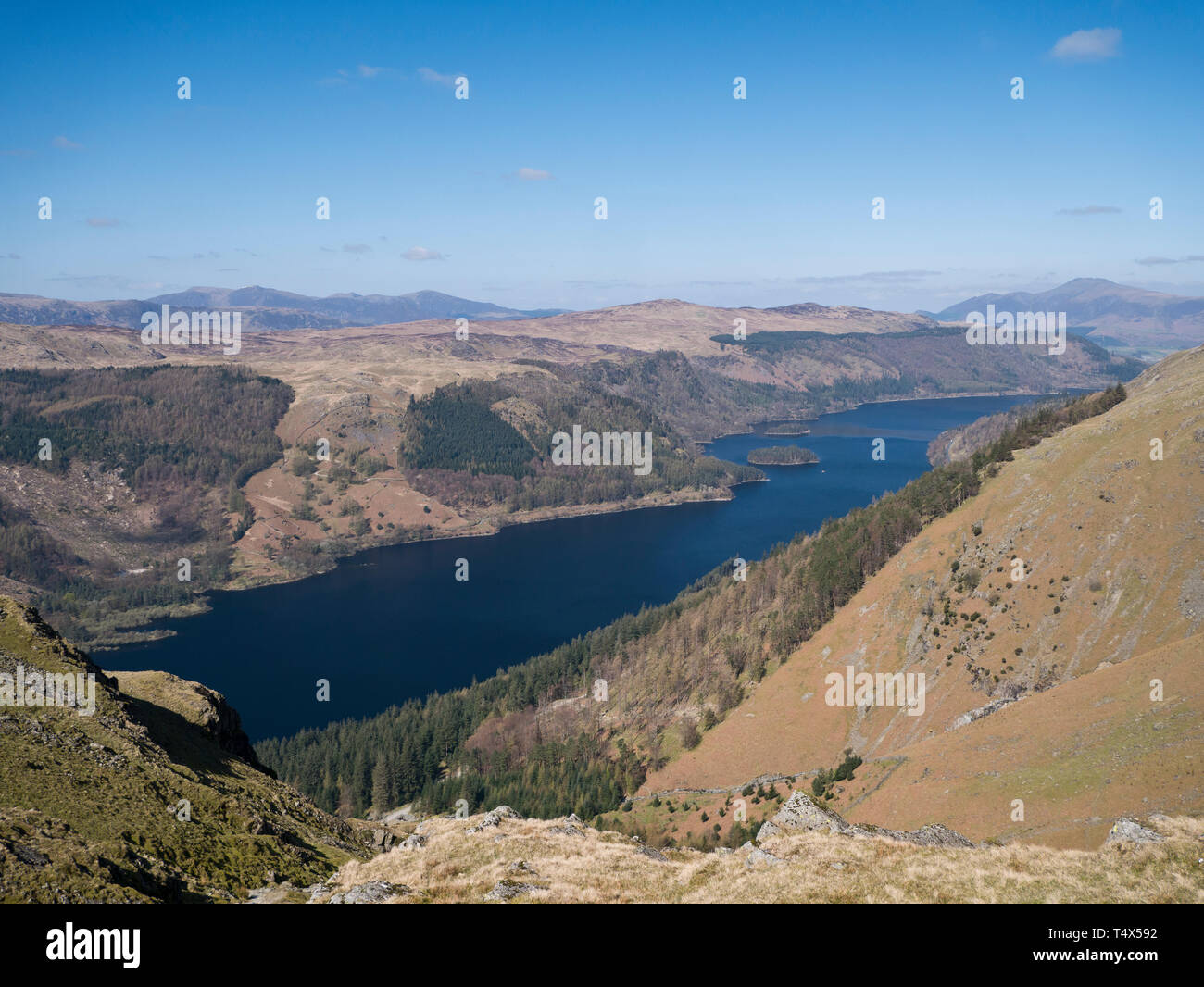 Thirlmere reservoir in the Borough of Allerdale in Cumbria and the English Lake District from Helvellyn - Stock Image