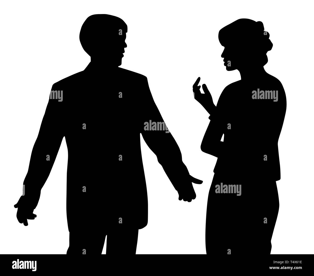 Man and woman arguing. Couple with relationship problems. - Stock Image