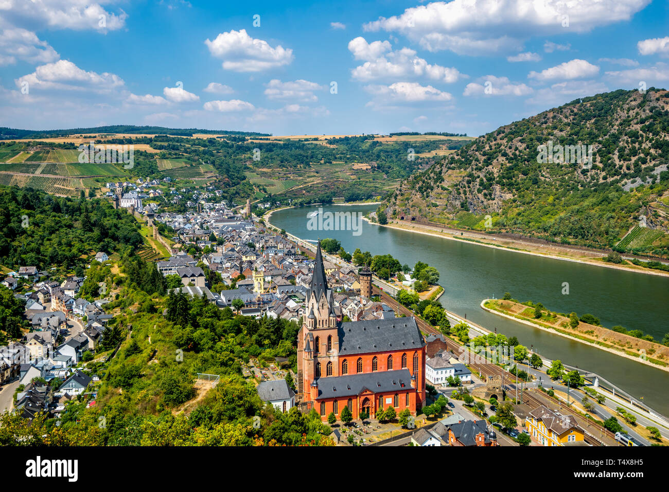 View over Oberwesel, Middle Rhine Valley Germany Stock Photo