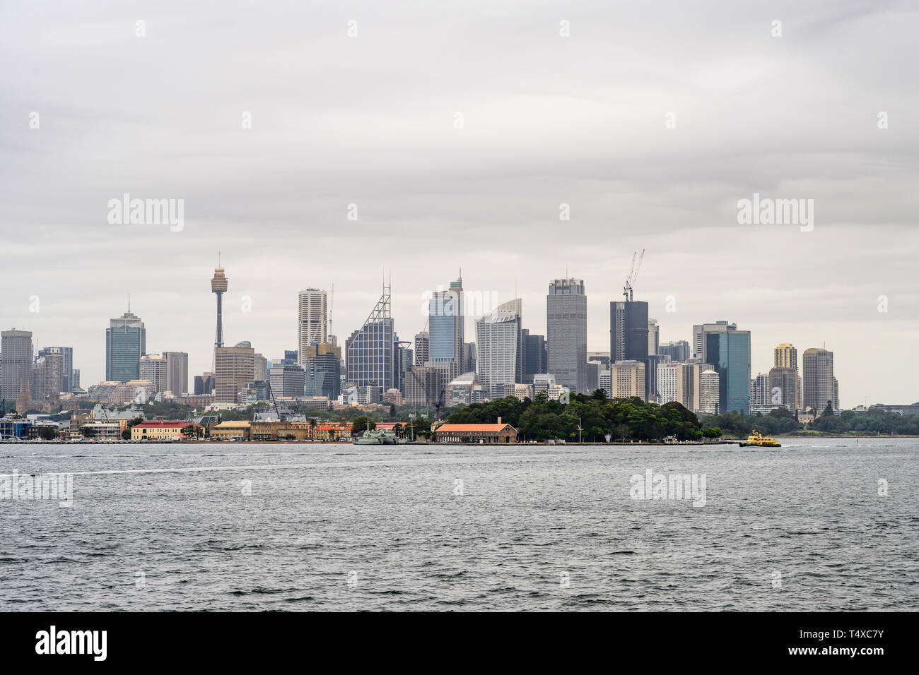 Sydney skyline seen from Sydney Harbour. - Stock Image