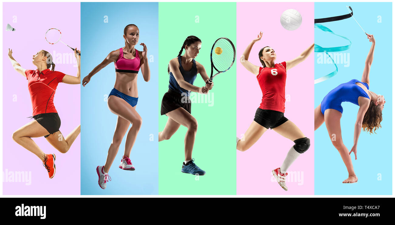 Sport Collage About Female Athletes Or Players The Tennis Running Badminton Rhythmic Gymnastics Volleyball Concept Fit Women In Action Or Motion Over Trendy Color Background Stock Photo Alamy Over the years our challenges have helped thousands of women transform their mind and body. https www alamy com sport collage about female athletes or players the tennis running badminton rhythmic gymnastics volleyball concept fit women in action or motion over trendy color background image243984223 html