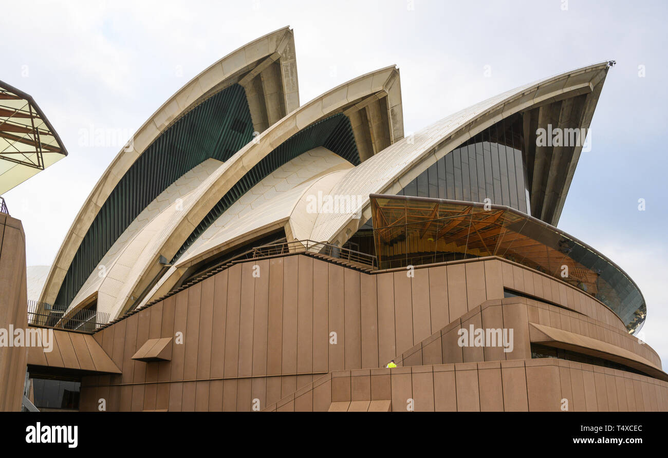 Detail of the 'shell' precast concrete architecture of Sydney Opera House, Sydney, New South Wales, Australia. Stock Photo