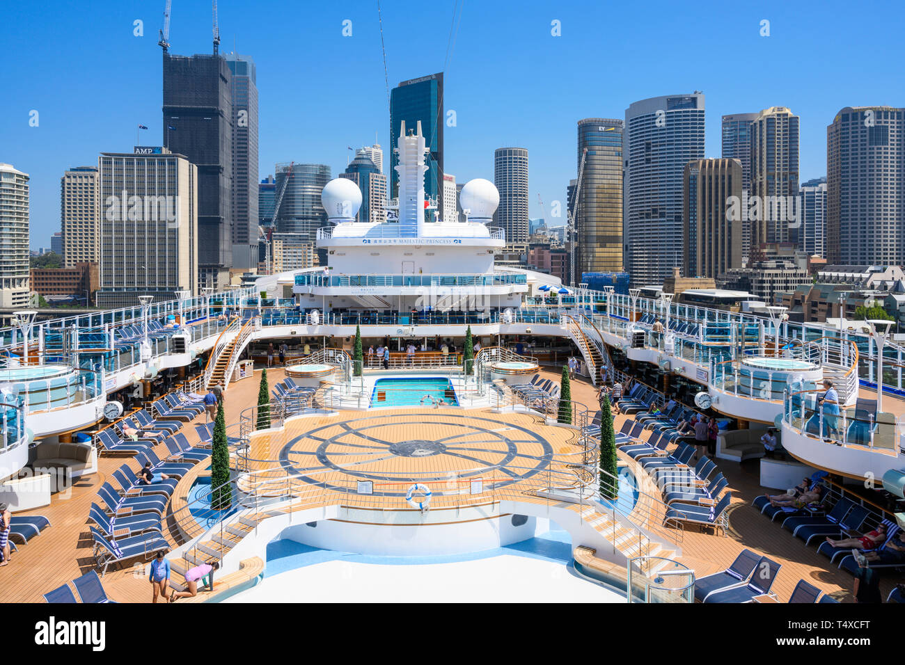 Princess Cruises cruise ship, Majestic Princess, is berthed at the Overseas Passenger Terminal, Sydney Harbour, Sydney, New South Wales, Australia. Stock Photo