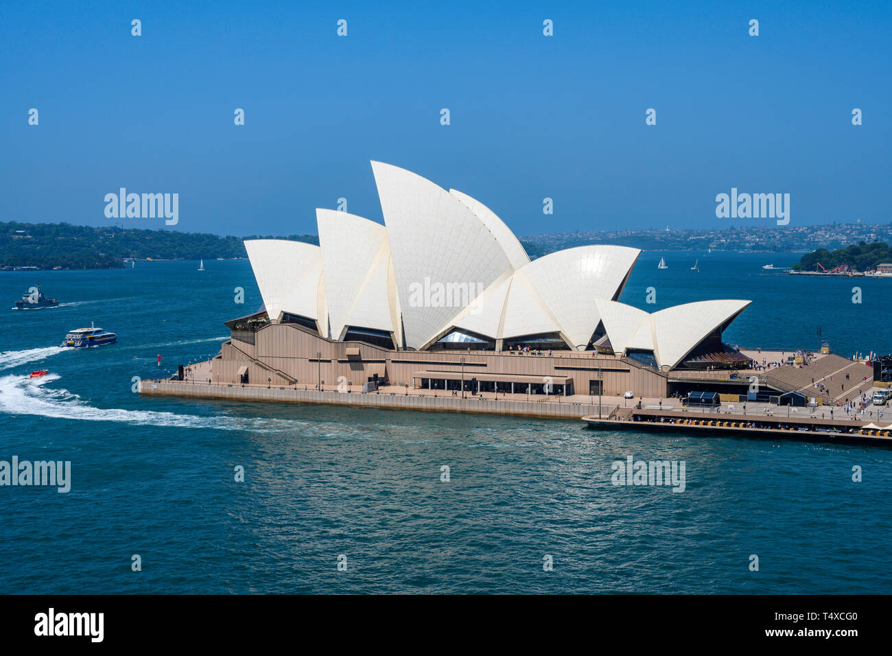 Sydney Opera House is a performing arts centre at Sydney harbour, New South Wales, Australia.  Designed by Jørn Utzon, it opened in 1973. Stock Photo