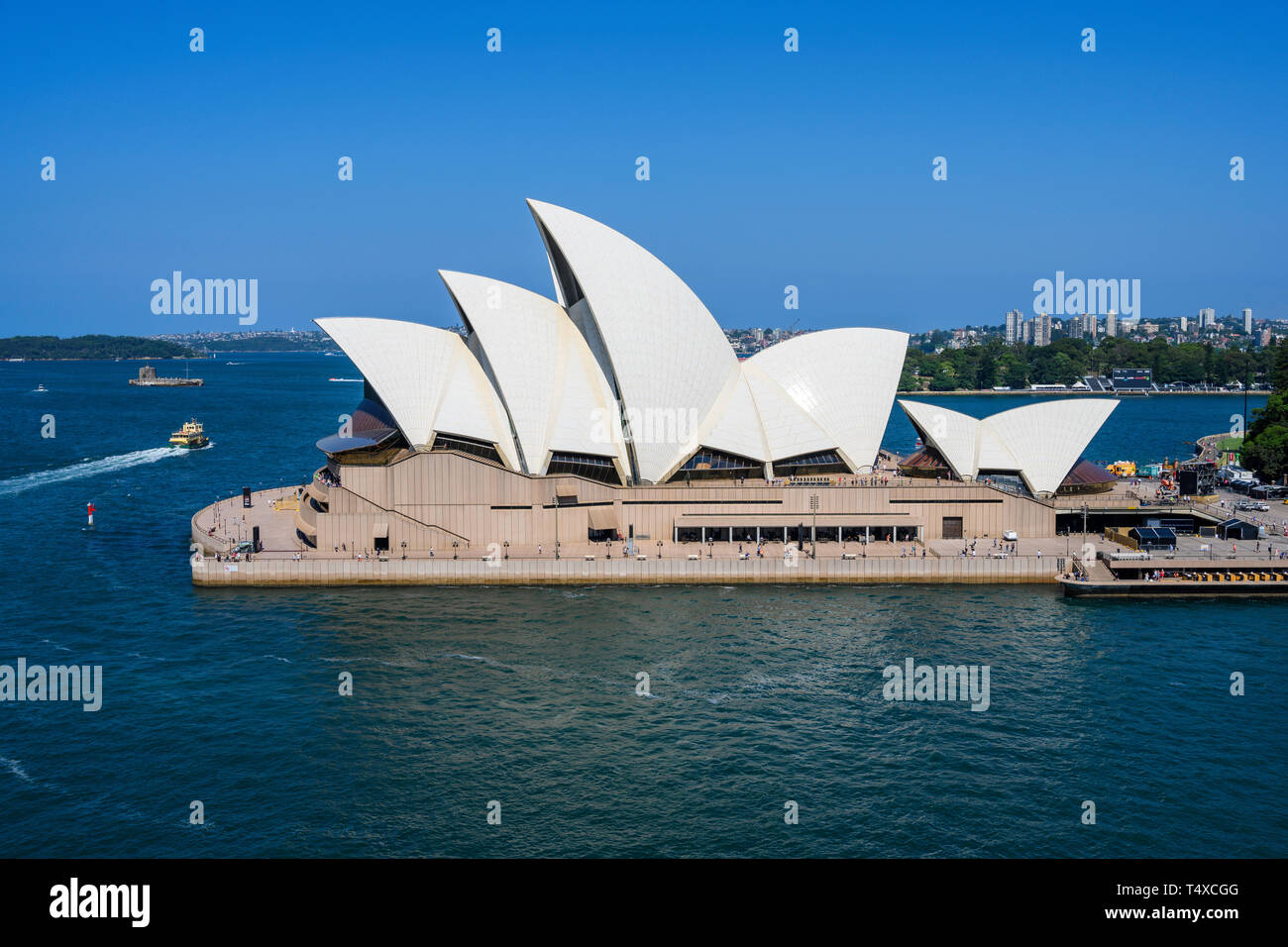 Sydney Opera House is a performing arts centre at Sydney harbour, New South Wales, Australia.  Designed by Jørn Utzon, it opened in 1973. - Stock Image