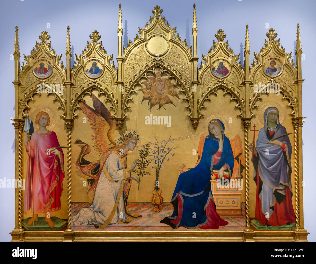 Annunciation with St Ansanus and St. Maxima, The Prophets Jeremiah, Ezekiel, Isaiah and Daniel, Simone Martini and Lippo Memmi, 1333, Galleria degli U - Stock Image