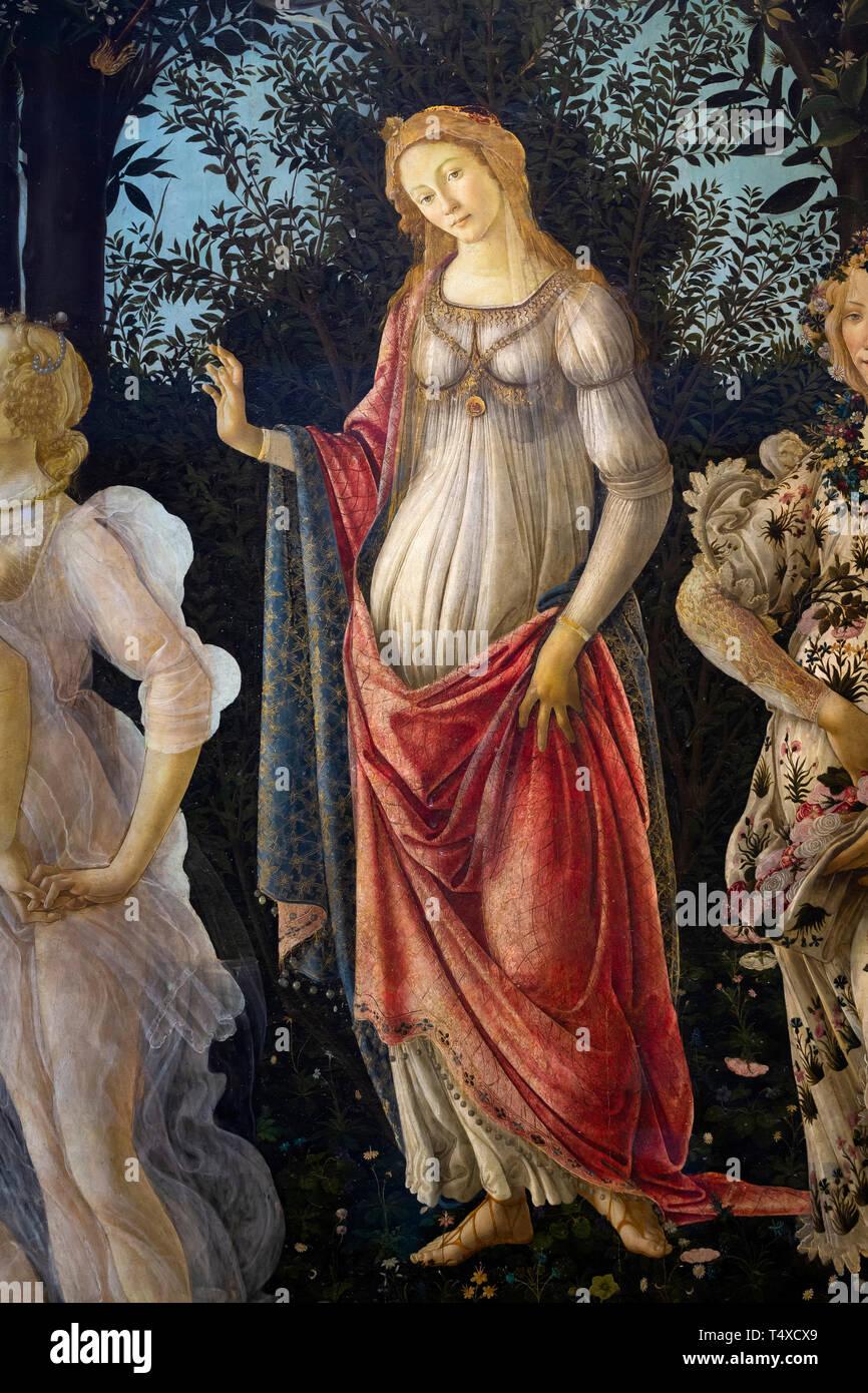Venus standing in her arch, Primavera, Spring, detail, Sandro Botticelli, circa 1482, Galleria degli Uffizi, Uffizi Gallery, Florence, Tuscany, Italy Stock Photo