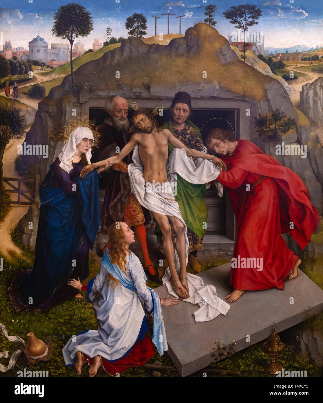 Entombment of Christ, Rogier van der Weyden, circa 1460-1464, oil on panel, Galleria degli Uffizi, Uffizi Gallery, Florence, Tuscany, Italy - Stock Image